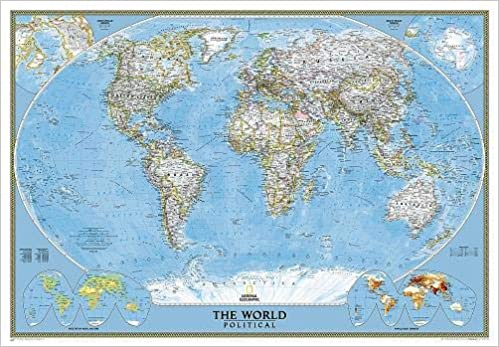 Mapa mural del mundo classic gigante 3 partes 289x193 cm. Inglés ...