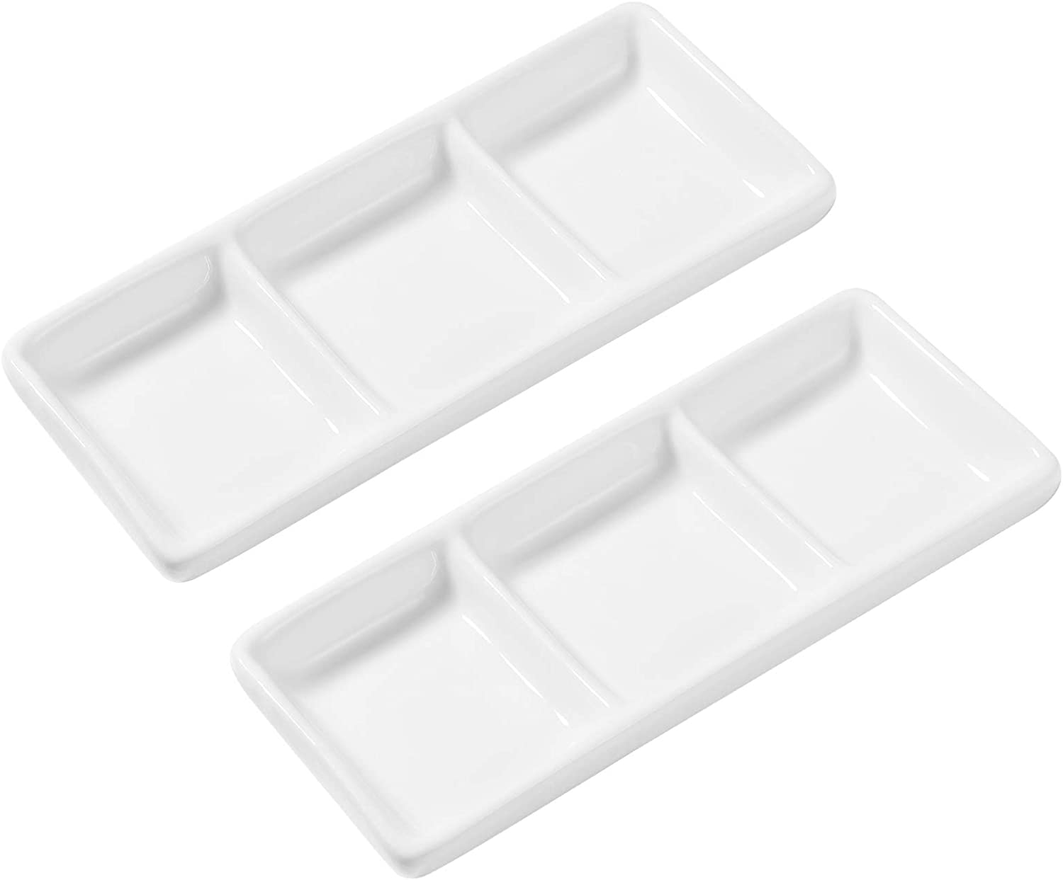BESTONZON 2pcs White Ceramic Serving Platter 3 Compartment Appetizer Serving Tray Rectangular Divided Sauce Dishes for Restaurant Kitchen Spices Vinegar Nuts (5.9 x 2.6 inch/White)