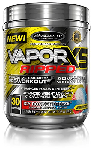 MuscleTech VaporX5 Ripped Preworkout, Long Lasting Energy,  Pre Workout Weight Loss, Icy Rocket Free…