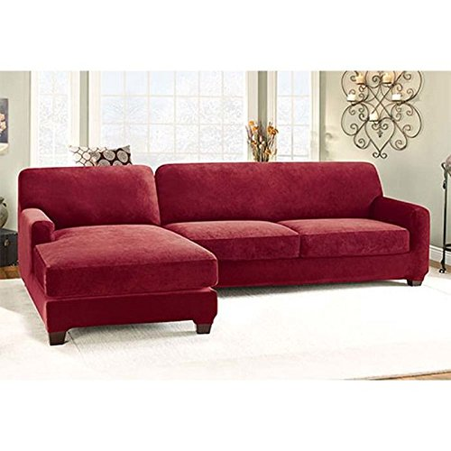 Sure Fit Stretch Pique 2-Piece with Left Side Chaise Sectional Slipcover - Garnet (SF38959) (Indoor Lounge Covers Chaise)