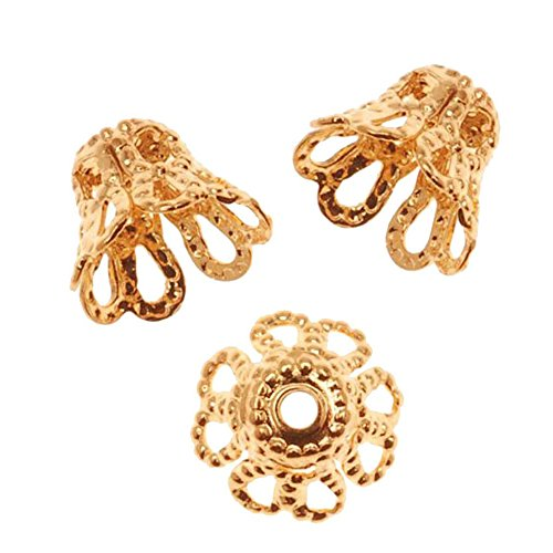 (Laliva Accessories - 100-Piece Gold Plated Filigree Flower Cup Shaped Bead Caps(7mm))