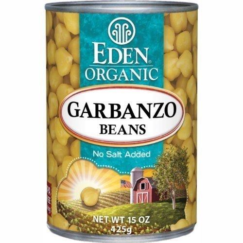 Eden Organic Garbanzo Beans, No Salt Added, 15-Ounce Cans (Pack of 12) (Value Bulk Multi-pack)