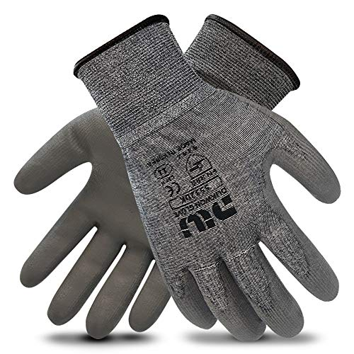 CustomGrips Cut Resistant Gloves, HPPE Liner, Level 4 Abrasion Resistance, Polyurethane Palm Coated Work Gloves [6 Pairs/Size 11]