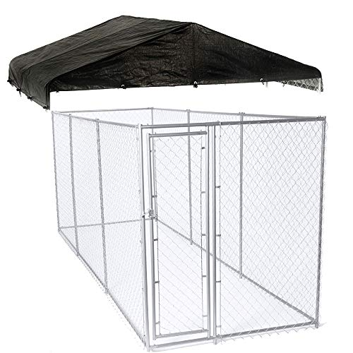 Lucky Dog 10 x 10 Ft. Heavy Duty Outdoor Chain Link Dog Kennel Enclosure w/DoorWeatherGuard 10' x 10' Outdoor Dog Run Kennel Enclosure Waterproof Roof Cover