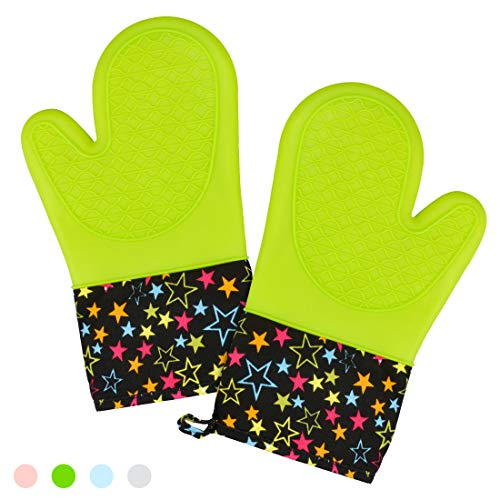 (CAKETIME Silicone Oven Mitts - High Heat Resistant Cooking Mitts with Soft Quilted Cotton Liner BPA Free 1 Pair)