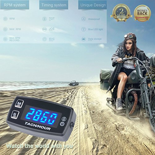 FOUNDOWN LED Tach Hour Meter Backlit Digital Tachometer 2/4 Small Stroke Engines Motorcycle Motocross Outboard Chainsaw ATV Motorbike Snowmobile 35L