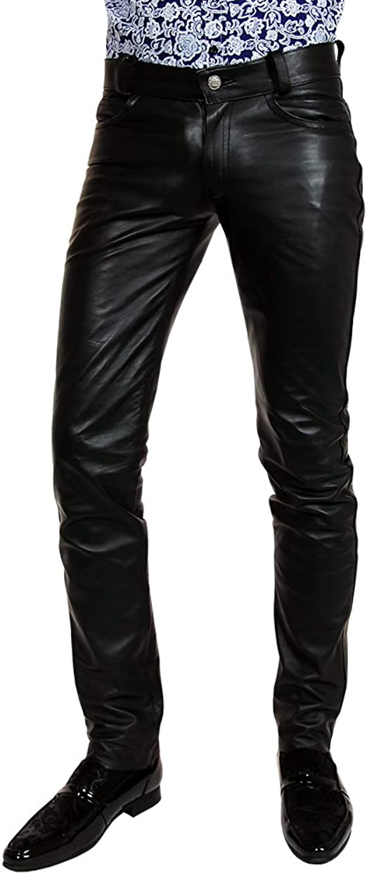 mens leather jeans black white stitchings leather pants new trousers Lederhose