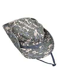 Fishing Hat Sports Topee Jungle Camping Cap Summer String Hat for Hunting Outdoor (ACU Camouflage)