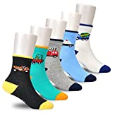 Epeius Little Kids Boys' 5 Pack Seamless Cartoon Car/Truck Crew Socks for 4-6 Years,Shoe Size 9.5-12,White/Black/Blue/Grey