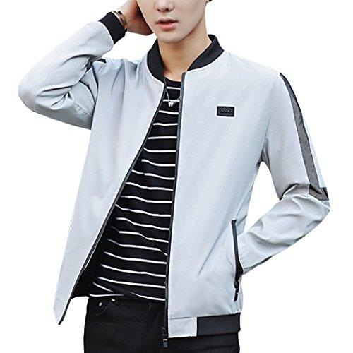 Sun Lorence Men's Fashion Slim Fit Baseball Collar Zipper Casual Bomber Jacket Coat Grey M Collar Slim Zipper Closure