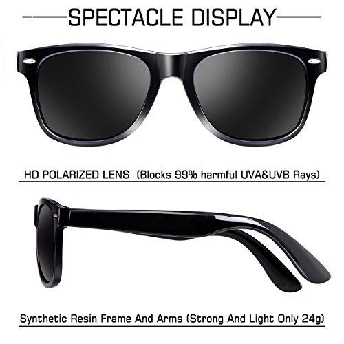 e6564f6e65 wearPro Wayfarer Sunglasses for Men Women Vintage Polarized Sun Glasses  WP1001 B Bright Black ...