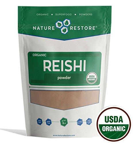 Natures Herbs Reishi Mushroom (Nature Restore USDA Certified Organic Red Reishi Mushroom Powder, Non-GMO (8 ounces))