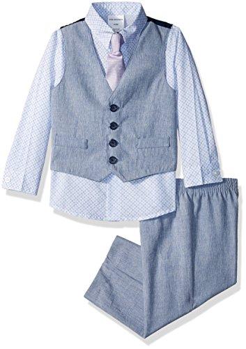 Van Heusen Baby Boys Patterned Four-Piece Vest Set, Poplin Academy Blue, 18M for $<!--$24.03-->