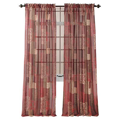 - Style Master Renaissance Home Fashion Jasmine Tile Print Sheer Rod Pocket Panel, Burgandy, 56-Inch by 84-Inch