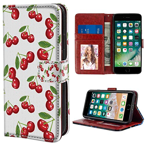 iPhone 6, iPhone 6S Wallet Case, Fruit Cherry Pattern Design Fresh Berry Fruit Summer Green Garden Macro Digital Print Scarlet White PU Leather Folio Case with Card Holder and ID Coin Slot
