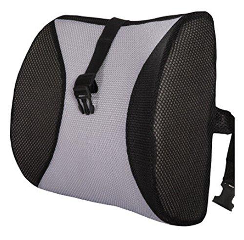 Moyishi Black and Gray High Resilient Memory Foam Seat Back Lumbar Cushion Support Pillow Car Office Chair Back Support (Support Lumbar Sacral Pillow)