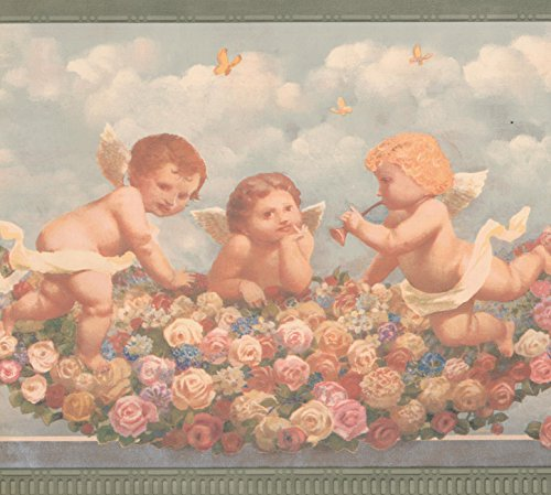 Cherub Babies in Heaven Pink Red Yellow Roses Faith Religious Wallpaper Border Retro Design, Roll 15' x 9'' (Cherub Wallpaper)