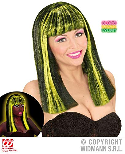 WIDMANN wid74988 - Patsy Black Wig With streaks Yellow Fluorescent, One Size