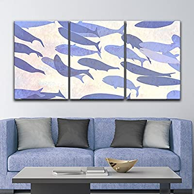3 Panel Canvas Wall Art - Mystical Purple Fish - Giclee Print Gallery Wrap Modern Home Art Ready to Hang - 16