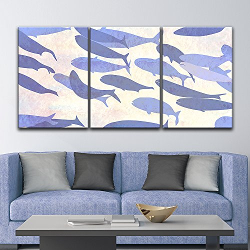 3 Panel Mystical Purple Fish Gallery x 3 Panels