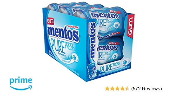 Mentos Pure Fresh Sugar-Free Chewing Gum with Xylitol, Fresh Mint, Non Melting, 50 Piece Bottle (Pack of 6)