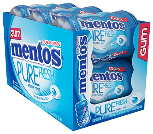 Choice Mint - Mentos Pure Fresh Sugar-Free Chewing Gum with Xylitol, Fresh Mint, Non Melting, Non Melting, 50 Piece Bottle (Pack of 6)