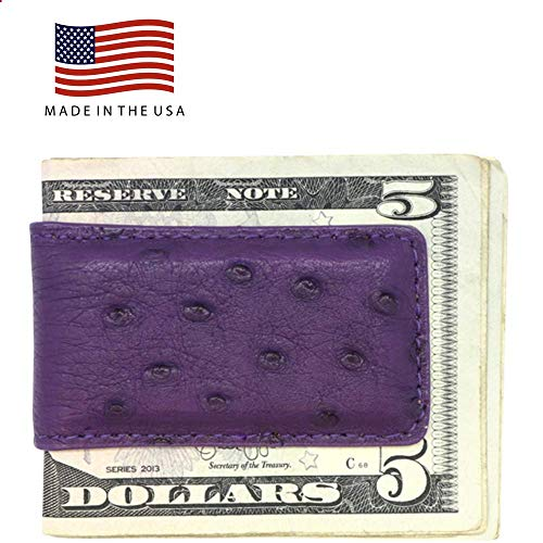 Purple Genuine Ostrich Money Clip - Magnetic - American Factory Direct - Strong Shielded Magnets - Money Holder - Money Holder - Made in USA by Real Leather Creations FBA510