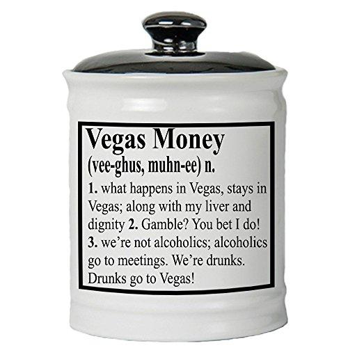Tumbleweed - Vegas Money - White Ceramic Jar With Lid - Gifts For Women - Gifts For Men - Gambling Gifts by Tumbleweed