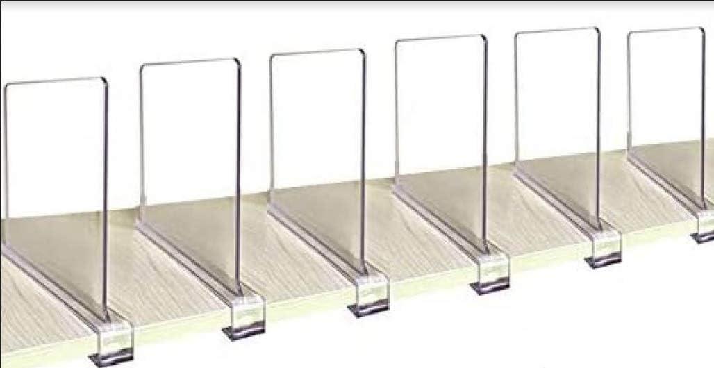 HANI Simpeople 6 PCS Clear Acrylic Shelf Divider, Adjustable Closet Organizer for Bedroom, Bathroom Kitchen Shelving, Storage Shelf, Shoe Organizer, Book Shelf Organizer, Purse Organizer Closet