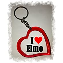 "Exclusive Gift Idea: Heart Keyring ""I Love Elmo"", a Great gift that comes from the Heart - Backpack pendant - love pendant - Keychains- Keyring- Christmas Gift"