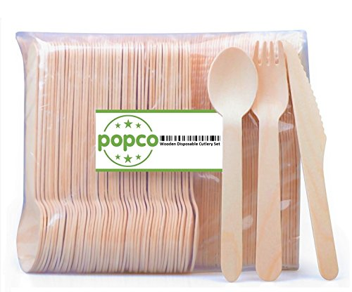 "POPCO 250-Piece Disposable Wooden Cutlery Set: 100 forks, 100 knives, 50 spoons, 6.5"" Length, 100% All-Natural, Eco-Friendly, Biodegradable, and Compostable - Because Earth is Awesome!"