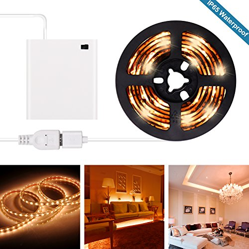 Battery Operated LED Strip Lights - 2018 New Design Warm White USB LED Light Strip Kit with 6.6FT 2M SMD 3528 IP65 Waterproof Super Bright LED Tape Light, Battery Case
