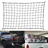 LIAOYUAN Bungee Cord Truck Nets, 70'x48' Heavy Duty Truck Bed Net, Bungee Cargo Net, Max Stretches to 140'x95' with 14 pcs Tangle-Free D Clip Carabiners Hooks, 1/5' Cord Dia, fit Universal Truck Bed