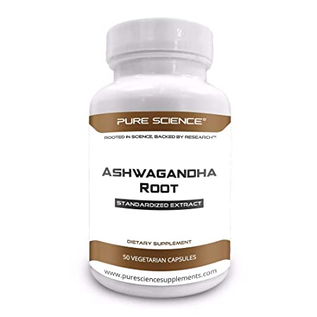 Pure Science Ashwagandha Capsules 500mg 1.5 Withanolides with 5mg BioPerine Natural Bioavailability Enhancer for better absorption – 50 Vegetarian Capsules