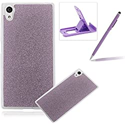 Cover for Xperia Z5 Compact,Rubber Case for Xperia Z5 Compact,Herzzer Super Slim [Purple Gradient Color Changing] Dust Resistant Soft Flexible TPU Bling Glitter Protective Case