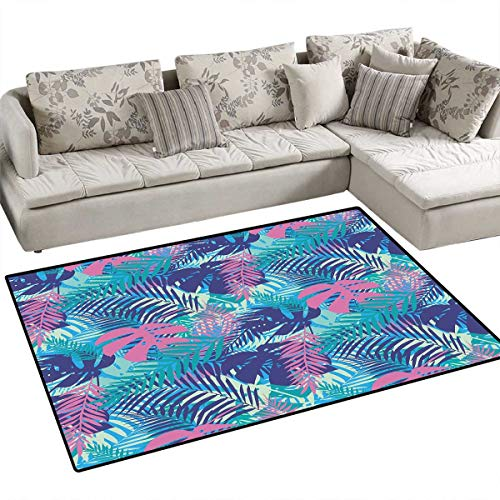 Leaf Girls Bedroom Rug Digital Neon Vivid Colored Island Oceanic Flowers and Leaves Door Mat Indoors Bathroom Mats Non Slip 40