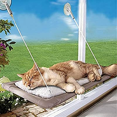 New Arrival! Bearing 20KG Cat Basking Window Hammock Perch Cushion Bed Hanging Shelf Seat Pet Bed Multiple Cats of Household from Artimag