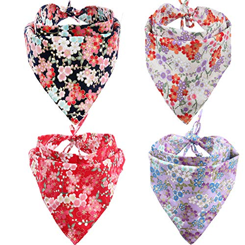 KZHAREEN 4 Pack Dog Bandanas Triangle Bibs Scarf Accessories Japanese ()