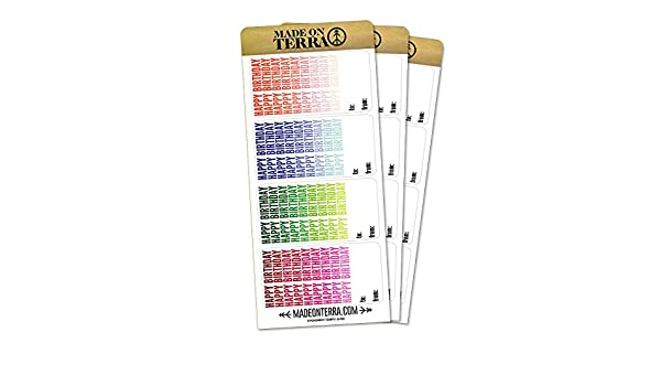 Amazon Monochromatic Ombre Happy Birthday Gift Tags Removable Matte Sticker Sheets Set