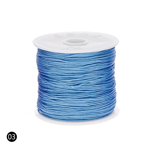 ZHUOTOP Roll Nylon Cord Thread Chinese Knot Macrame Rattail Bracelet Braided String 0.8mm 45M Light Blue