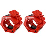 Barbell Collars (Pair) – Locking 2' Olympic Size Weight Clamps - Quick Release Collar Clips – Bar Clamps Great for Weight Lifting, Olympic Lifts and Strength Training (Red)