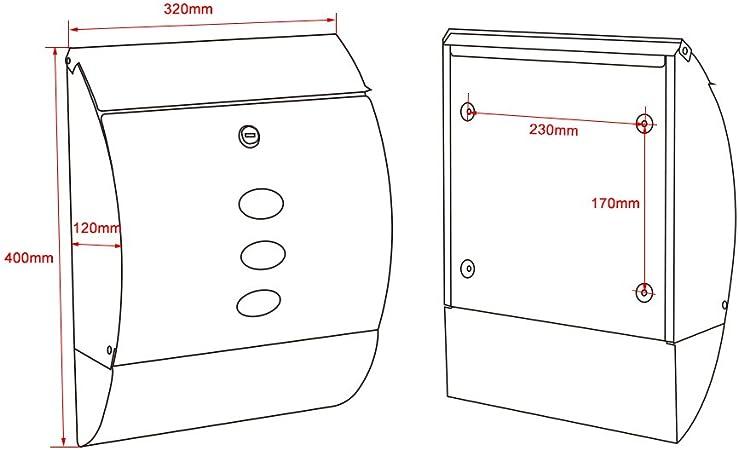 Buz/ón de dise/ño V18 buz/ón de pared plateado compartimento para peri/ódicos