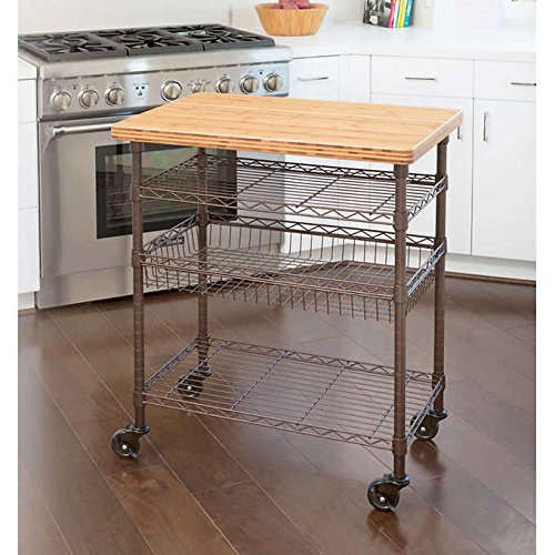 - Seville Classics Professional Chef's Kitchen Cart with Solid Bamboo Top