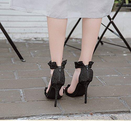 Fine 5Cm Des Les Chaussures Chaussures Avec Talons KHSKX De Furet Mouture 8 Couleur Sandales Forty Mot Noires Femelle Cuir Nu 57qnngTSI