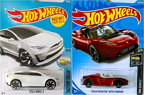 Hot Wheels Tesla Model X White 97/365 and Tesla Roadster with Starman 109/250 2 Car Bundle Set