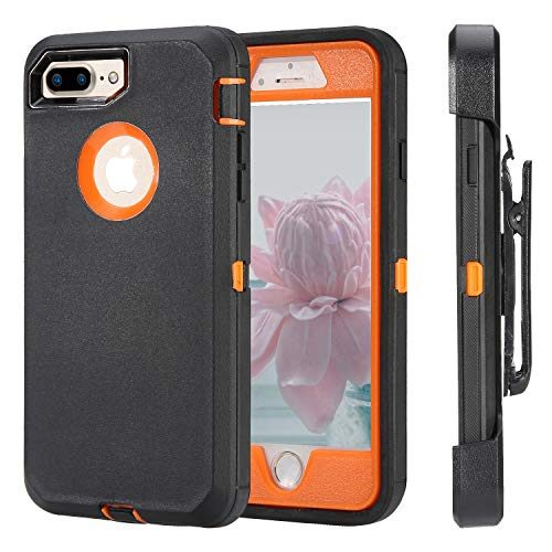 iPhone 7 Plus Case [Heavy Duty Protection] [with Kickstand] 4 in 1 Rugged Shockproof Cover Holster Case with Built-in Screen Protector for Apple iPhone 7 Plus,iPhone 8 Plus (Black/Orange) (Iphone 4 Orange Screen)