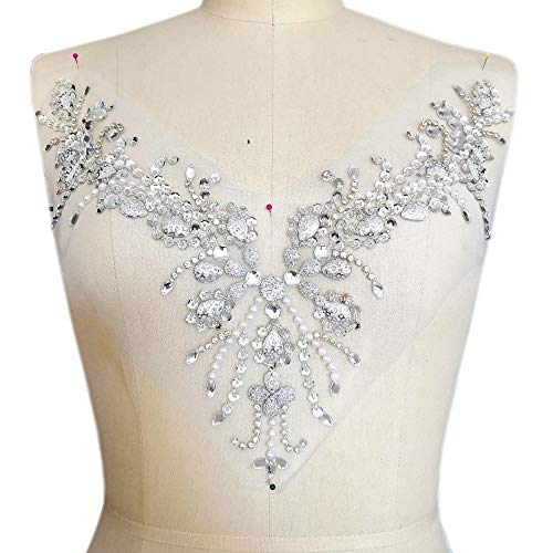 (Sparkle Beaded V-Neck Silver Color Bling Sew On Neckline Sequin Rhinestones Crystal Trim Bridal Applique Design Patch Sewing for Wedding Dresses DIY Craft 12x15 Inch (Silver))