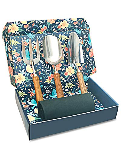Sunphio Gardening Tools Set with Heavy Duty Garden Hand Trowel, Spade Shovel and Fork Kit, Forged Stainless Steel and Never Fall-Off Wood Handle, 1 Indoor Work Mat, 1 Beautiful Gift Box for Women Men (Fork Set Spade Garden And)