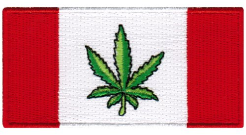 Canada Weed Embroidered Patch Marijuana Pot Leaf Canadian Flag Novelty Iron-On - Canadian Pot