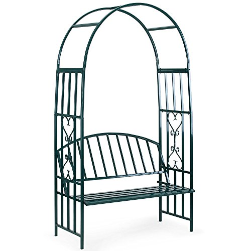 VonHaus Dark Green Metal Arbor with Two Seater Bench trellis Arch Arbour for flowers, plants and decoration